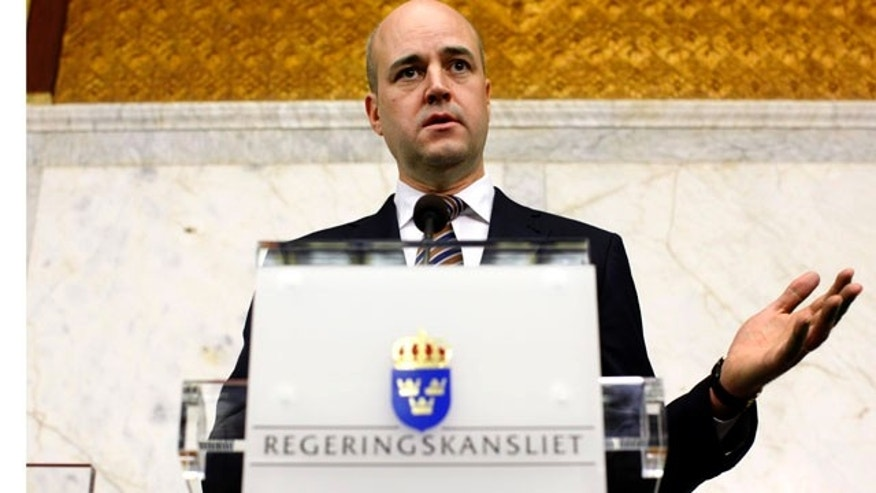 Sept. 20, 2010: Sweden's Prime Minister Fredrik Reinfeldt of the centre-right coalition addresses media during a news conference at the Government Offices in Stockholm, Sweden, the day after the national elections.
