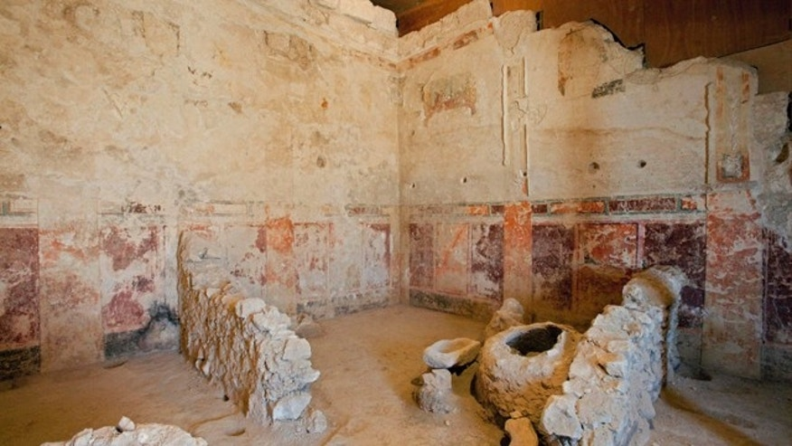 September 21: Frescos discovered in the Herodium complex, in the West Bank, south of Jerusalem.  Israeli archaeologists have excavated a lavish private box in a 400-seat theater located at King Herod's winter palace in the Judean desert. (AP)