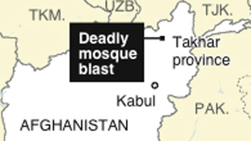 Map locates Afghanistan's Takhar province, where the Shirkat mosque is located.