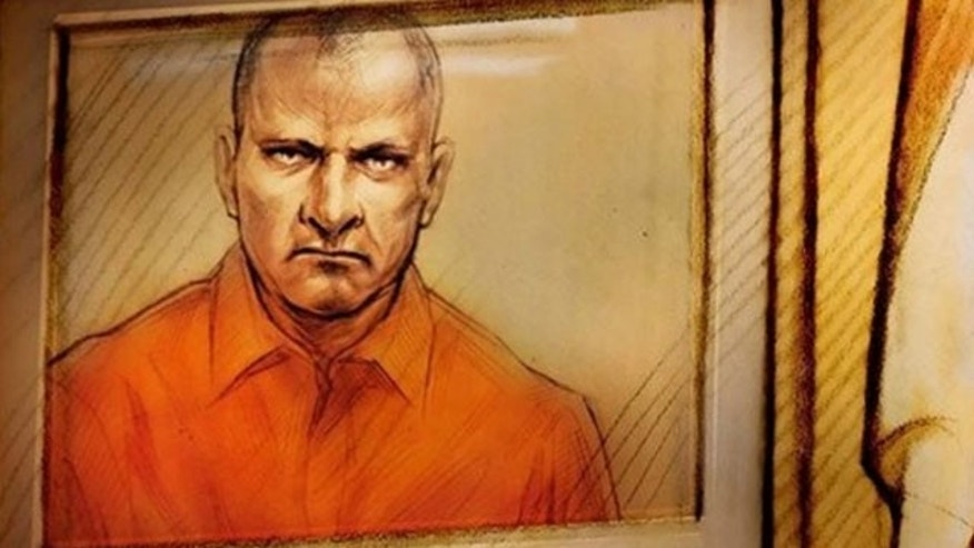 Feb.18, 2010: Artist's sketch shows Col. Russell Williams as he appears in court via a video link in Belleville, Ontario, Canada.