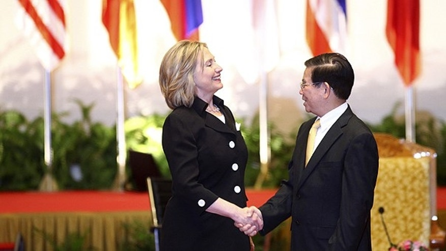Oct. 30: Secretary of State Hillary Rodham Clinton, left, is greeted by Vietnamese President Nguyen Minh Triet on the sidelines of the 17th ASEAN Summit in Hanoi, Vietnam.