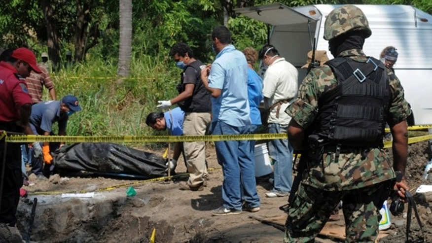 Nov. 3: A Mexican Navy soldier watch as forensic workers remove a body which was buried at a field in the town of Tuncingo, southern Mexico.