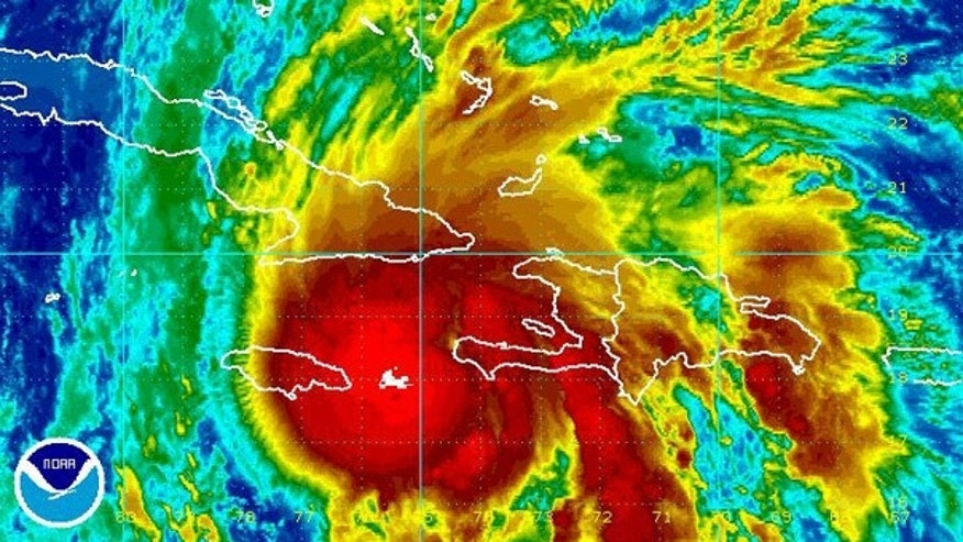 Nov. 5: Enhanced infrared satellite imagery shows Hurricane Tomas nearing southern Haiti in the Caribbean at 3:45 a.m. ET