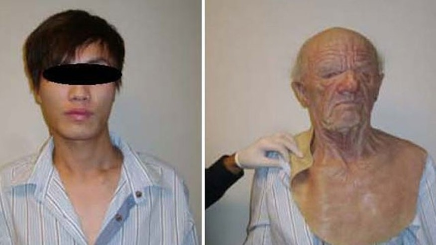 "This undated combination of photos released by the Canada Border Services Agency, shows left, a young man who boarded an Air Canada flight in Hong Kong while elaborately disguised as an elderly male, center and right, the disguise he was wearing while on board the flight bound for Canada. The man is seeking refugee status in Canada in what border officials are calling an ""unbelievable case of concealment."""