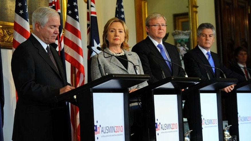 Nov. 8, 2010: U.S. Secretary of Defense Robert Gates, left, speaks as U.S. Secretary of State Hillary Rodham Clinton, second from left, Australian Minister for Foreign Affairs Kevin Rudd, second from right, and Minister for Defense Stephen Smith listen during a press conference after the annual Australia-U.S. Ministerial Consultations (AUSMIN) at Government House in Melbourne, Australia.