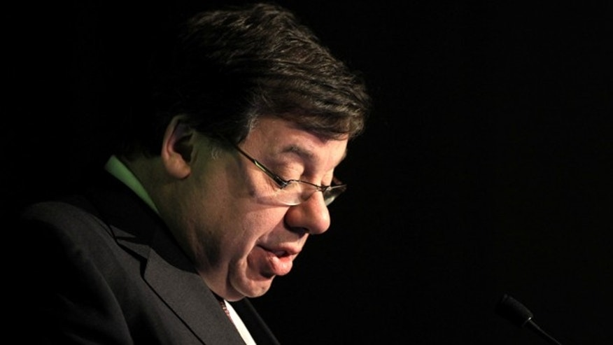 Nov. 18: Irish Prime Minister Brian Cowen pauses as he speaks to delegates at the IBM Smartcamp Global Finals in Dublin, Ireland.