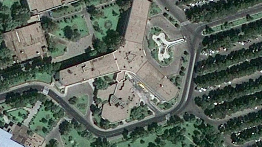 This satellite image of the Airline of the Islamic Republic of Iran, also known as Iran Air, was taken by Google Earth and reveals a Star of David symbol.   (Google Earth)