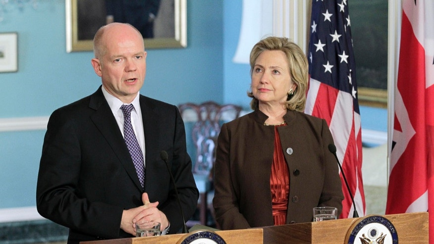 British Foreign Secretary William Hague shown here, during a Nov. 17 meeting with Secretary of State Hillary Rodham Clinton at the State Department in Washington, told British lawmakers that the joint U.S.-U.K. investigation confirmed a grenade thrown by U.S. forces had killed Norgrove.