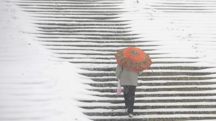 A woman walk up stairs in a park in Warsaw, Poland, Monday, Nov. 29, 2010, as first big snowfalls hit Poland this winter.