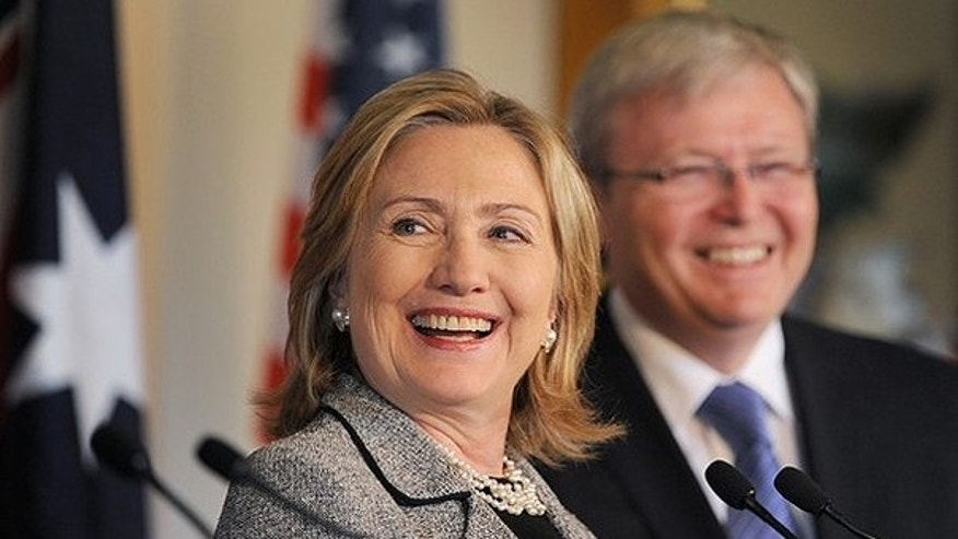 Dec. 8: U.S. Secretary of State Hillary Clinton (L) and Australia's Foreign Minister Kevin Rudd (R) give a joint press conference after the annual AUSMIN defence and security talks in Melbourne.
