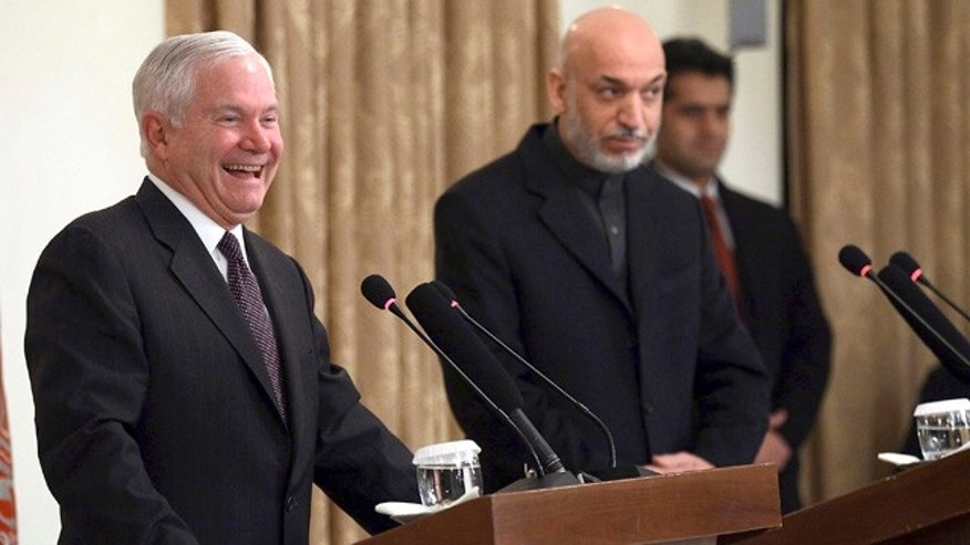 Dec. 8: Gates laughs during a news conference in Kabul, Afghanistan. After two days on the warfront in Afghanistan, on Dec. 9 Defense Secretary Robert Gates shifts his attention to countries where the U.S. is looking to avoid full-blown conflict — Iran and Yemen.