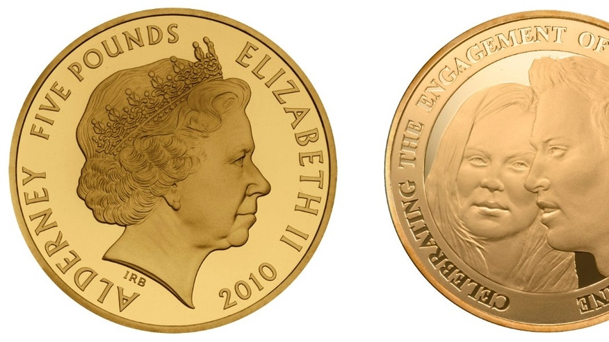 This undated combination photo released Thursday Dec. 23, 2010 by the Royal Mint shows both sides of a commemorative £5 Alderney coin to mark Prince William and Kate Middleton's engagement. Britain's Prince William, grandson to Queen Elizabeth II, is set to marry Kate Middleton in April 2011.