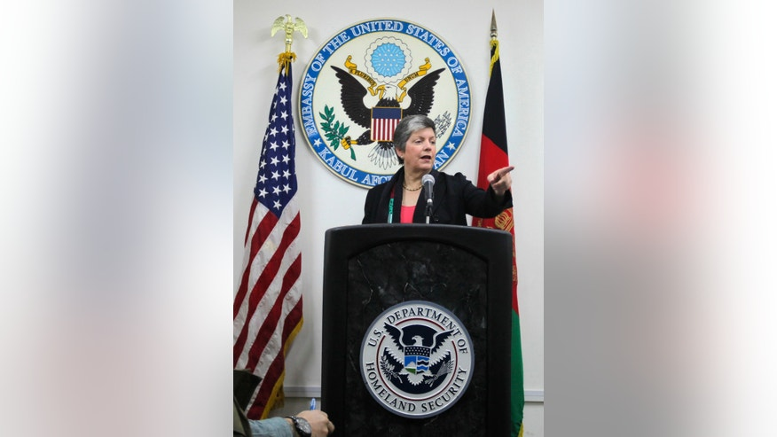 U.S. Homeland Security Secretary Janet Napolitano addresses media at the U.S. embassy in Kabul, Afghanistan, Saturday, Jan. 1, 2011. Napolitano said on Saturday she will send more U.S. experts to train Afghan police and customs officials to better manage the country's porous border crossings.