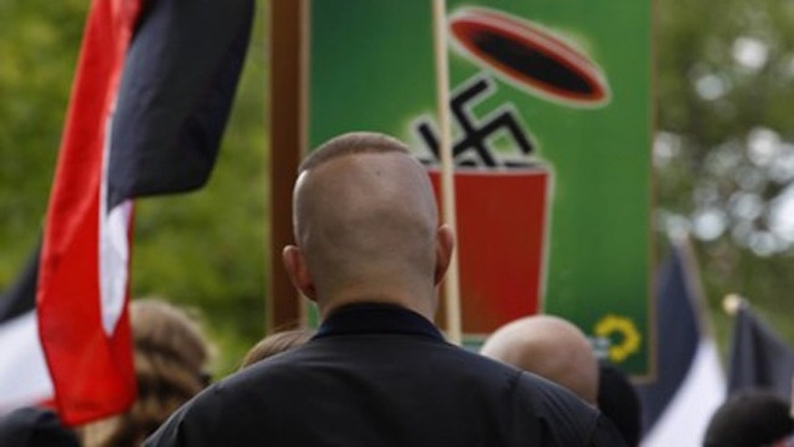Sept. 4: German neo-Nazis are pictured during a right-wing demonstration in Dortmund.