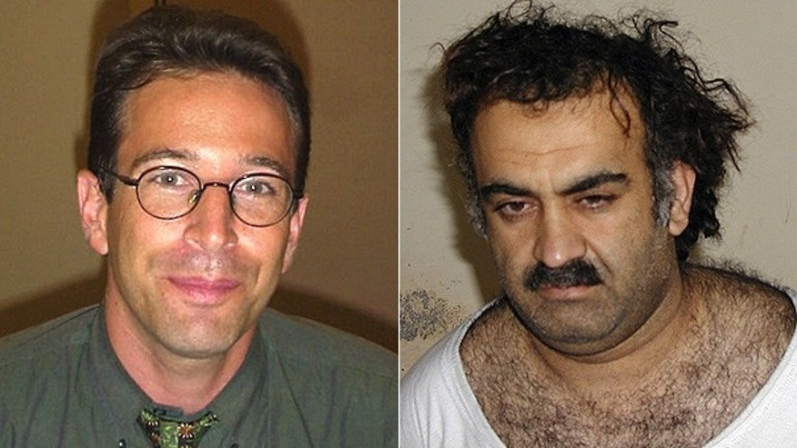 FILE: Wall Street Journal South Asia bureau chief Daniel Pearl, left, and top Al Qaeda figure Khalid Sheikh Mohammed.
