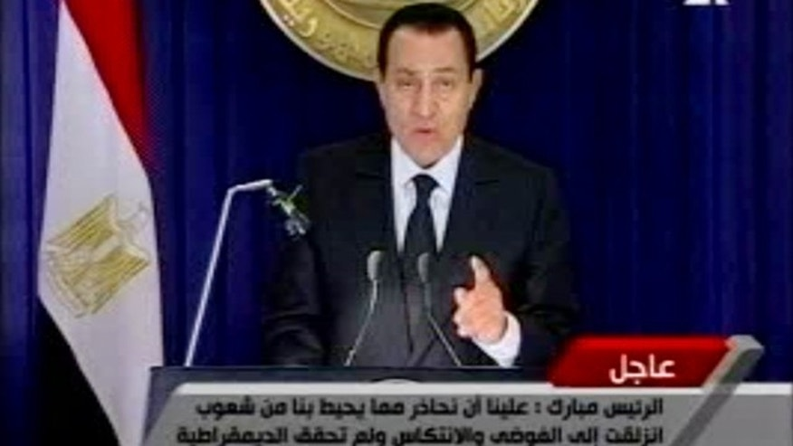 Jan. 28: In this image made from video broadcast on Al-Jazeera, Egyptian President Hosni Mubarak appears on television.