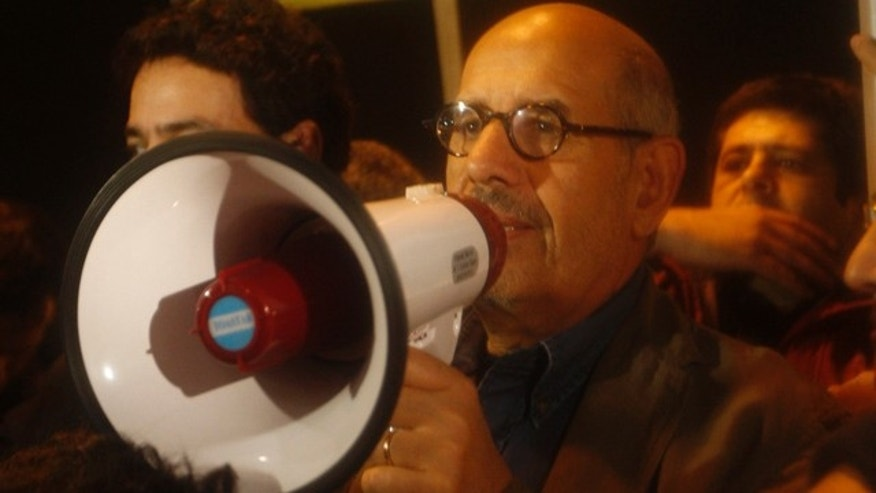 Jan. 30: Egyptian Nobel Peace laureate and democracy advocate Mohamed ElBaradei addresses the crowd at Tahrir Square in Cairo.