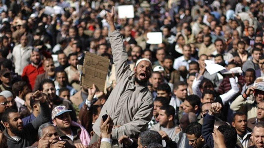 Jan. 31, 2011: People demonstrate in Cairo, Egypt. A coalition of opposition groups called for a million people to take to Cairo's streets Tuesday to ratchet up pressure for President Hosni Mubarak to leave.