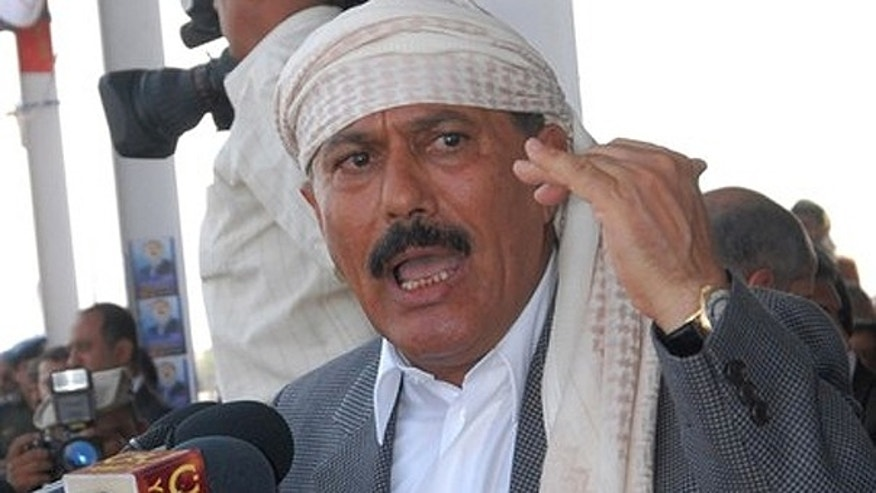 Sept. 03, 2010: Yemeni president Ali Abdullah Saleh delivers a speech to his supporters during an electoral rally in Mareb province, 173 km east of Sanaa.