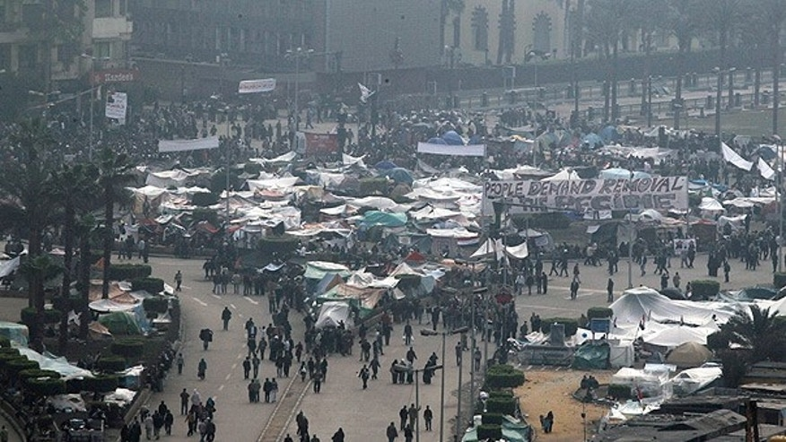 Feb. 7: Egyptian anti-government demonstrators gather in Tahrir Square, Cairo.