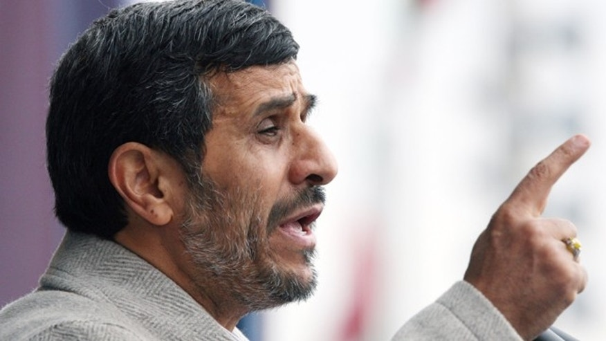 Feb. 11, 2011: Iranian President Mahmoud Ahmadinejad, gestures, as he delivers his speech in a rally marking the 32nd anniversary of 1979 Islamic Revolution, at the Azadi (Freedom) Square in Tehran, Iran.