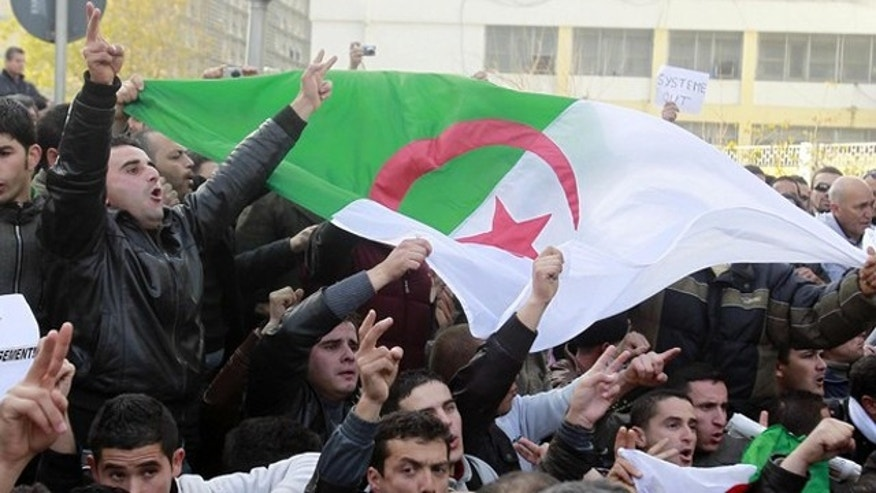 Feb. 12: Algerian protesters chant slogans during a demonstration in Algiers.