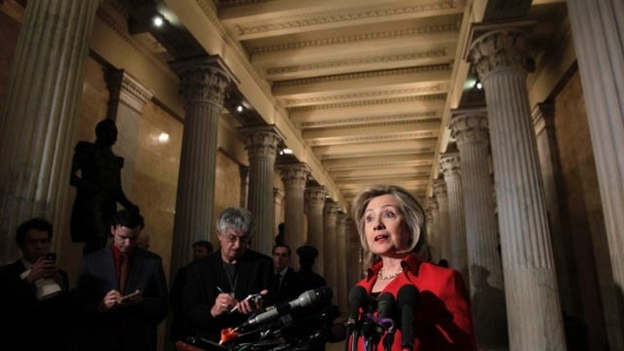 Feb. 14, 2011: Secretary of State Hillary Clinton  speaks with reporters about Egypt and protests in Iran following her meeting with Speaker of the House John Boehner, on Capitol Hill