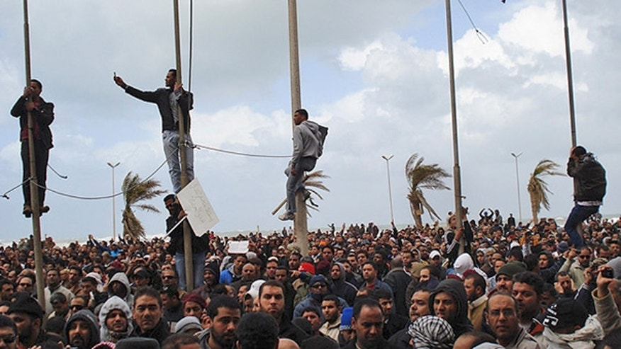 Feb. 21: Libyan protesters are believed to be seen in Benghazi, Libya.