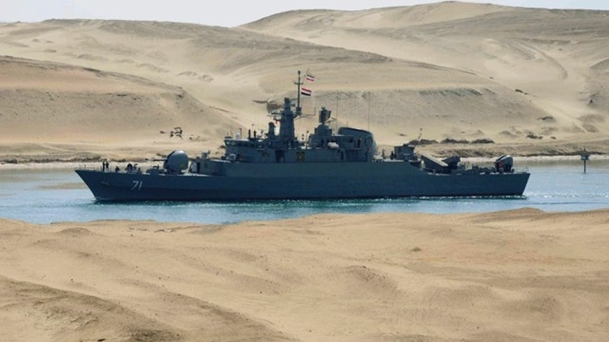 Feb. 22, 2011: The Iranian navy frigate IS Alvand passes through the Suez canal at Ismailia, Egypt. The frigate, accompanied by the replenishment ship IS Kharg, entered the Suez Canal on Tuesday enroute to Syria, officials said, the first time in three decades that Tehran has sent military ships through the strategic waterway.