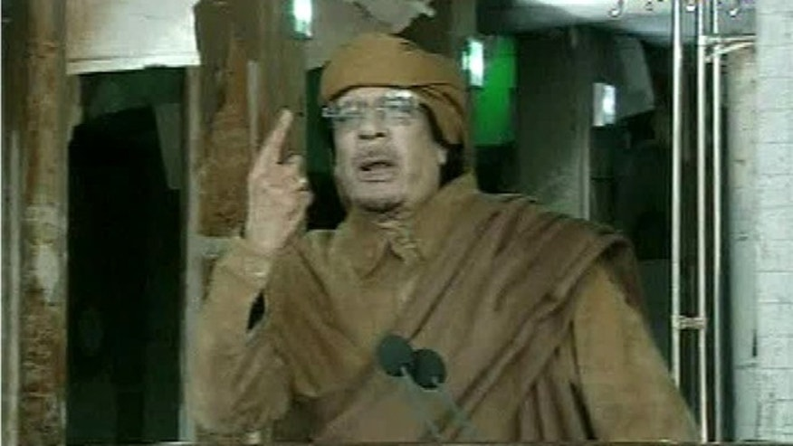 Feb. 22, 2011: This image broadcast on Libyan state television shows Libyan leader Muammar al-Qaddafi as he addresses the nation in Tripoli, Libya.