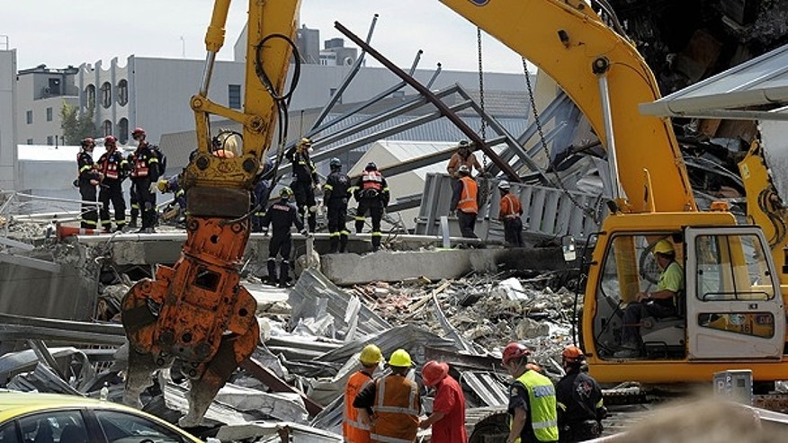 Feb. 24: Recovery operation personnel work on the destroyed CTV building in Christchurch, New Zealand, after the city was hit by a 6.3 magnitude earthquake.