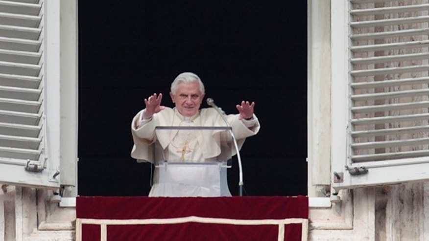 Feb. 20, 2011: Pope  Benedict XVI greets the faithful from his studio's window overlooking St. Peter's square during the Angelus prayer at the Vatican