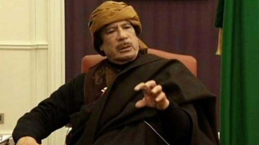 March 9: This video image taken from Turkish television shows Libyan leader Muammar al-Qaddafi during an interview with the TV channel TRT, in Tripoli, Libya.