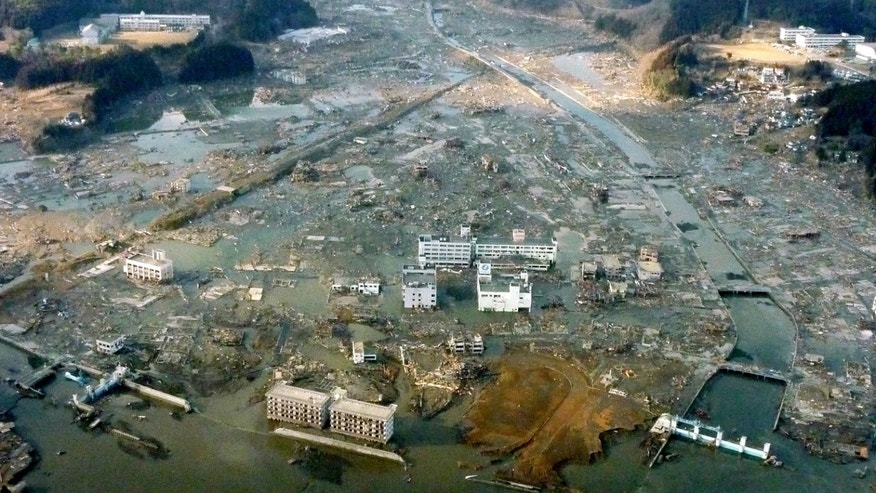 March 12: Minamisanriku town is submerged after Friday's strong earthquake-triggered tsunami in Miyagi prefecture, northern Japan. (AP/Kyodo News)