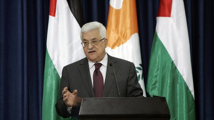 March 15: Palestinian President Mahmoud Abbas gestures as he speaks during a joint press conference with Cypriot President Dimitris Christofias, not pictured, after their meeting in the West Bank city of Ramallah.