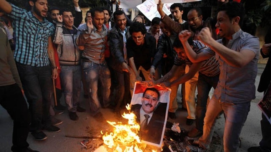 "March 18: Yemeni anti-government demonstrators burn a picture of Yemeni President Ali Abdullah Saleh as they call for his ouster during a gathering in front of the Yemeni Embassy in Beirut, Lebanon. The Arabic on banner reads:"" Go."" (AP)"