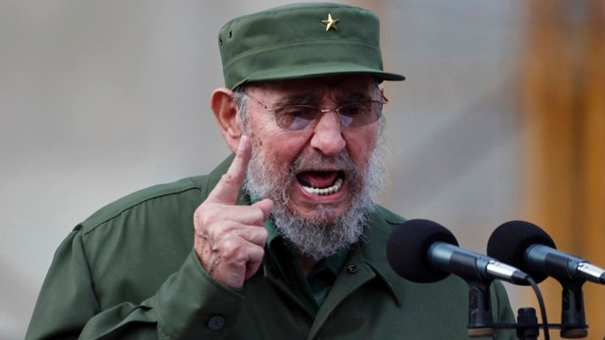 FILE - In this Sept. 28, 2010, file photo, Cuba's leader Fidel Castro delivers a speech during the 50th anniversary of the Committee for the Defense of the Revolution, CDR, in Havana, Cuba.