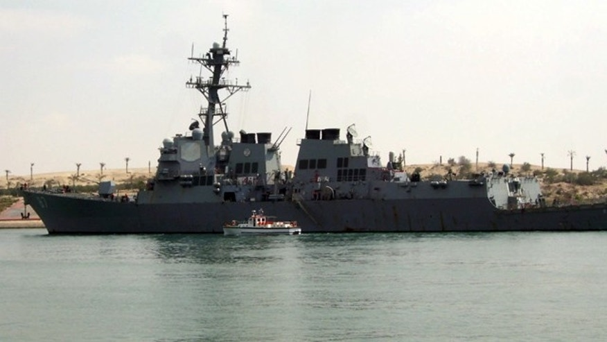 March 12: U.S. destroyer USS Mason sails in the Suez canal in Ismailia, Egypt.