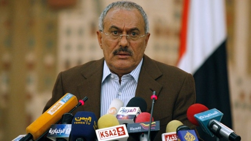 March 18: Yemeni President Ali Abdullah Saleh looks on during a media conference in Sanaa, Yemen.