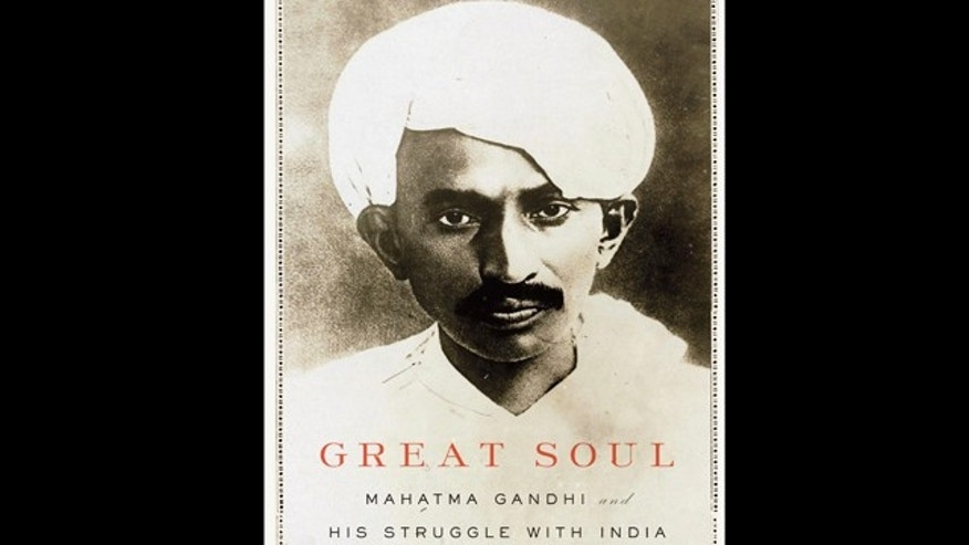 "In this book cover image released by Knopf, ""Great Soul: Mahatma Gandhi and His Struggle With India,"" by Joseph Lelyveld, is shown."