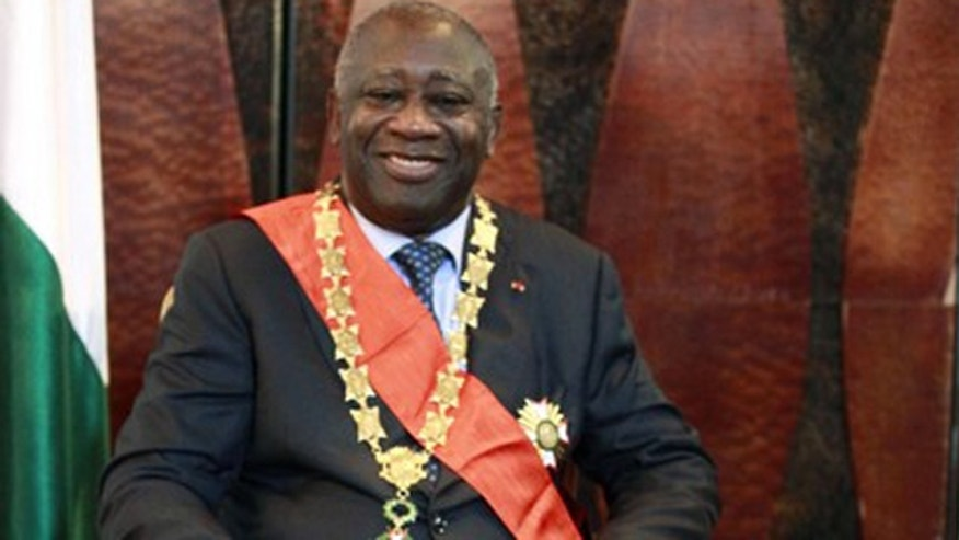 Dec. 4, 2010: Ivory Coast's Laurent Gbagbo sits after his inauguration at the presidential palace in Abidjan.