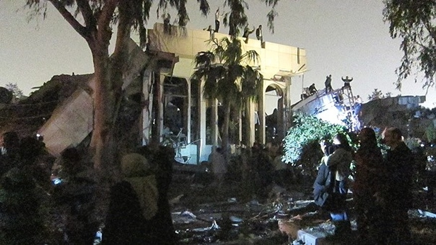 April 24: A view of the damage at Muammar al-Qaddafi's Bab al-Azizya compound in Tripoli.