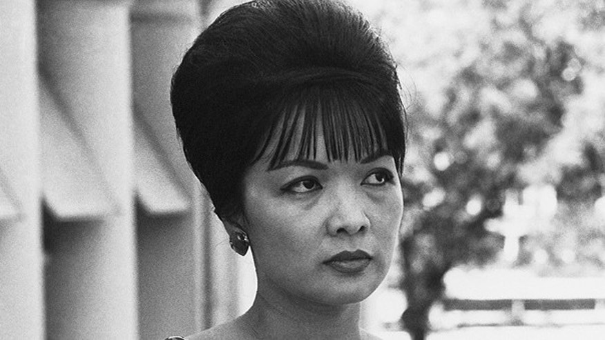 This Aug. 1963 photo shows Tran Lexuan, known as Madame Ngo Dinh Nhu in unknown location. Rome funeral home says Madame Nhu, a controversial figure from the Vietnam war era who was first lady of the Diem regime, has died in a Rome hospital aged 86.