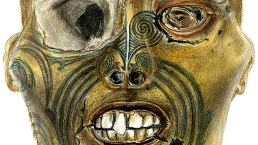 This drawing provided by the Rouen Museum shows a computer generated image of a Maori head that will be returned to New Zealand on May 9, 2011. France joins the U.S., Australia and other European countries in returning Maori objects to their native land. New Zealand has for years sought the return of preserved Maori heads and other human remains that were collected in the West and displayed in museum galleries. (AP/Rouen Museum)