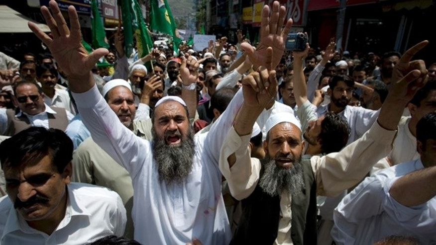 May 12: Supporters of Pakistan Muslim League-N party chant slogans during an anti-U.S. rally in Abbottabad, Pakistan.