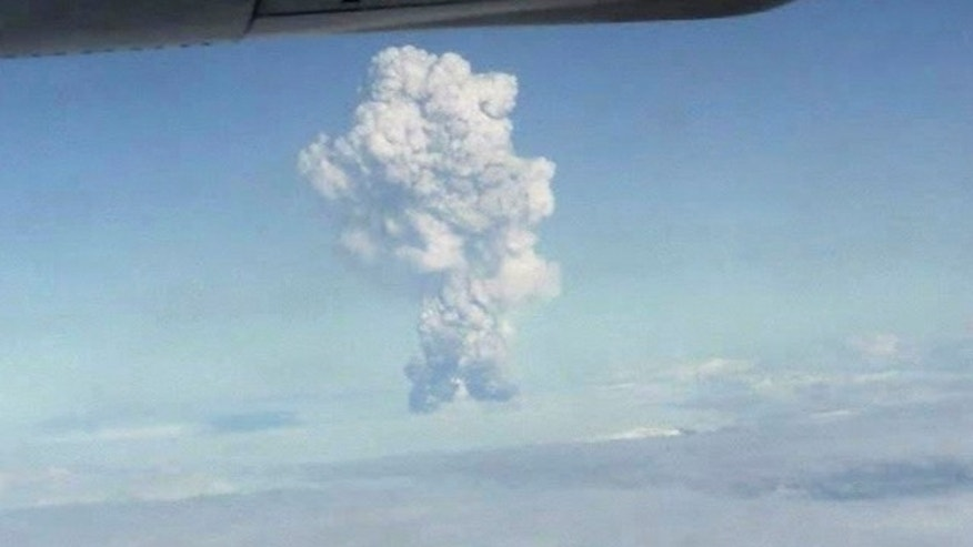 May 21: In this image taken from amateur video, smoke from the Grimsvotn volcano in Iceland is seen from a plane.