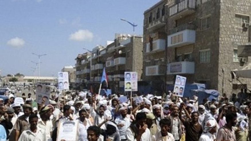 In this Feb. 11, 2011 file photo, anti-government protesters demonstrate in the southern Yemeni city of Zinjibar. (Reuters)
