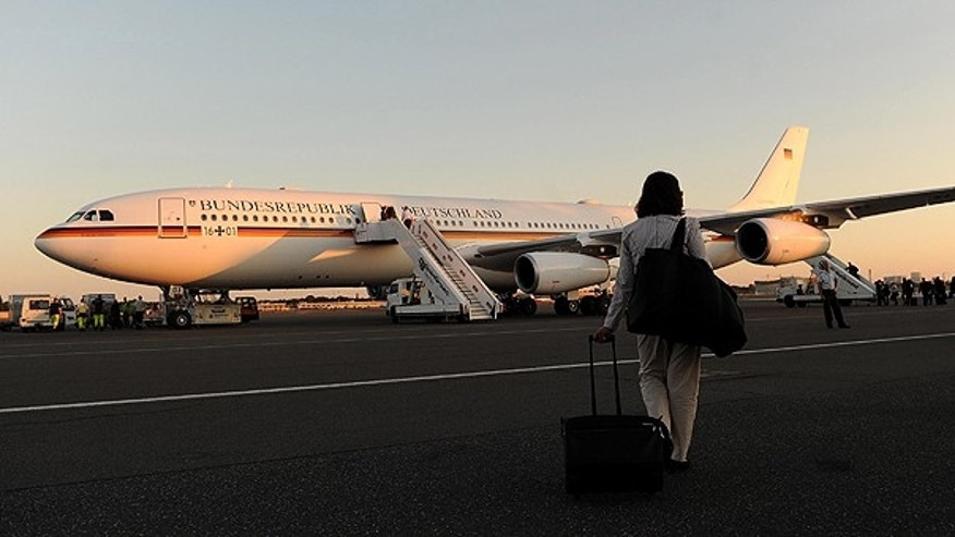 May 30: Thenew Airbus A340-300 of the German government waits at Berlin's Tegel airport.