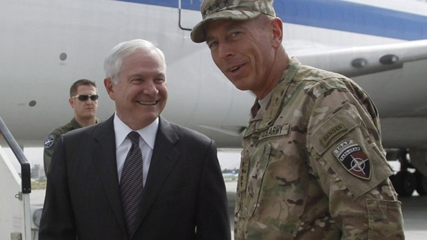 June 4: Secretary of Defense Robert Gates, left, is greeted in Kabul by General David Petraeus. Gates arrived on his final trip to Afghanistan as Pentagon chief on Saturday, acknowledging Americans have grown tired of war but warning that success was imperative because failure would be the most costly result.