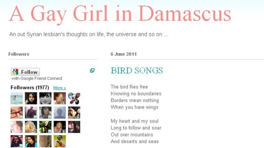 "The blog ""A Gay Girl in Damascus,"" is seen in this screen grab. The author of the blog had been reported missing."
